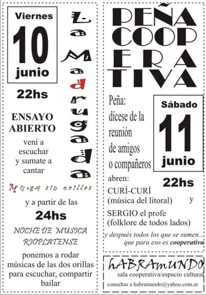 10/6 ensayo abierto LA MADRUGADA - 11/6 PEÑA COOPERATIVA